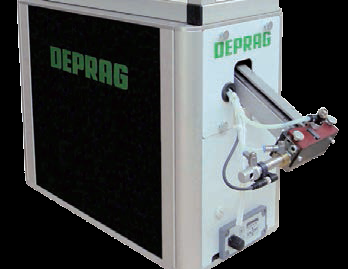 Deprag Sword Feeder Screwfeeder Shown In Sound Enclosure, With Unit To Store An Operator's Individual Settings, Auto Configured With RFID Chip